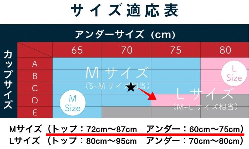 モテフィットサイズ表C70範囲