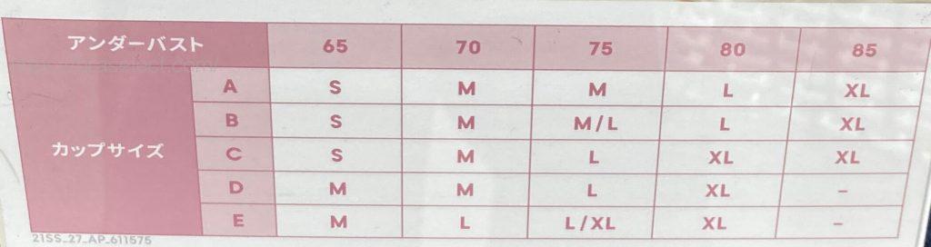 GUナイトブラサイズ表